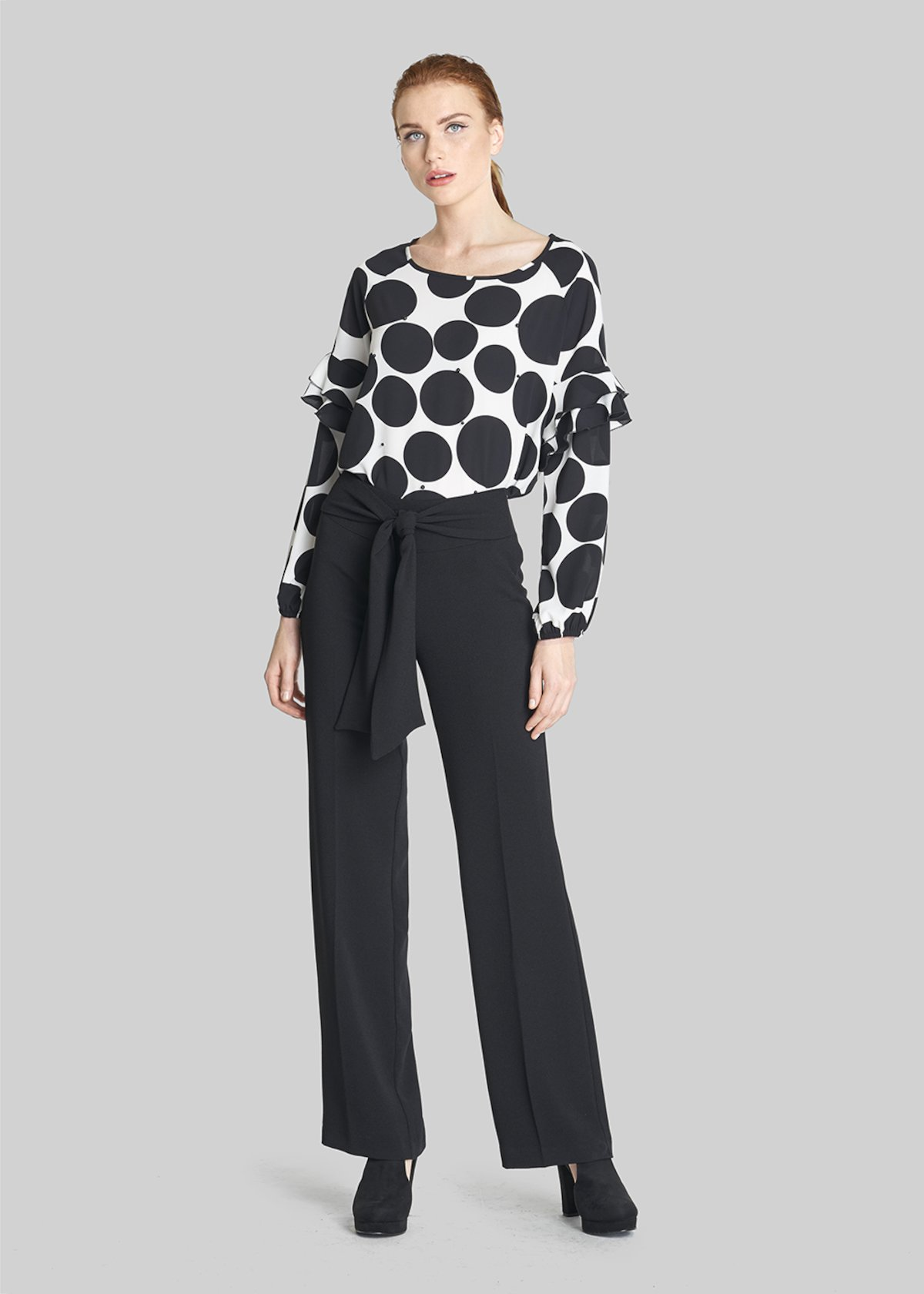 Catty Crepe blouse polka dots pattern with beads - Black White Fantasia