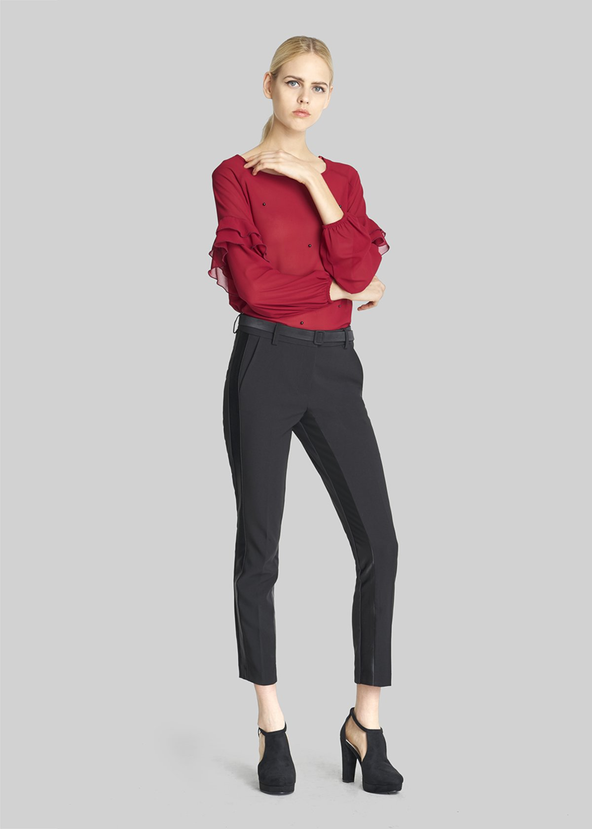 Slim leg Polide trousers with satin inserts - Black - Woman - Category image