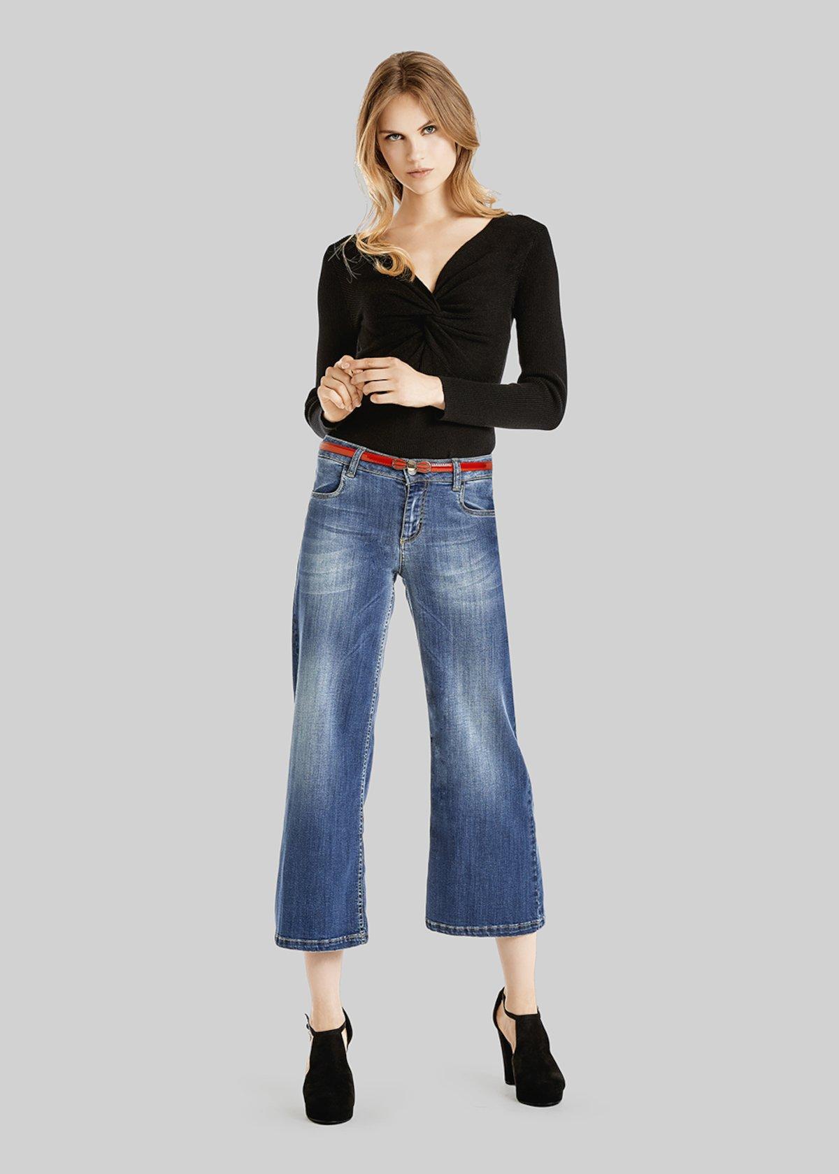 Dylan denim palazzo short trousers - Medium Blue