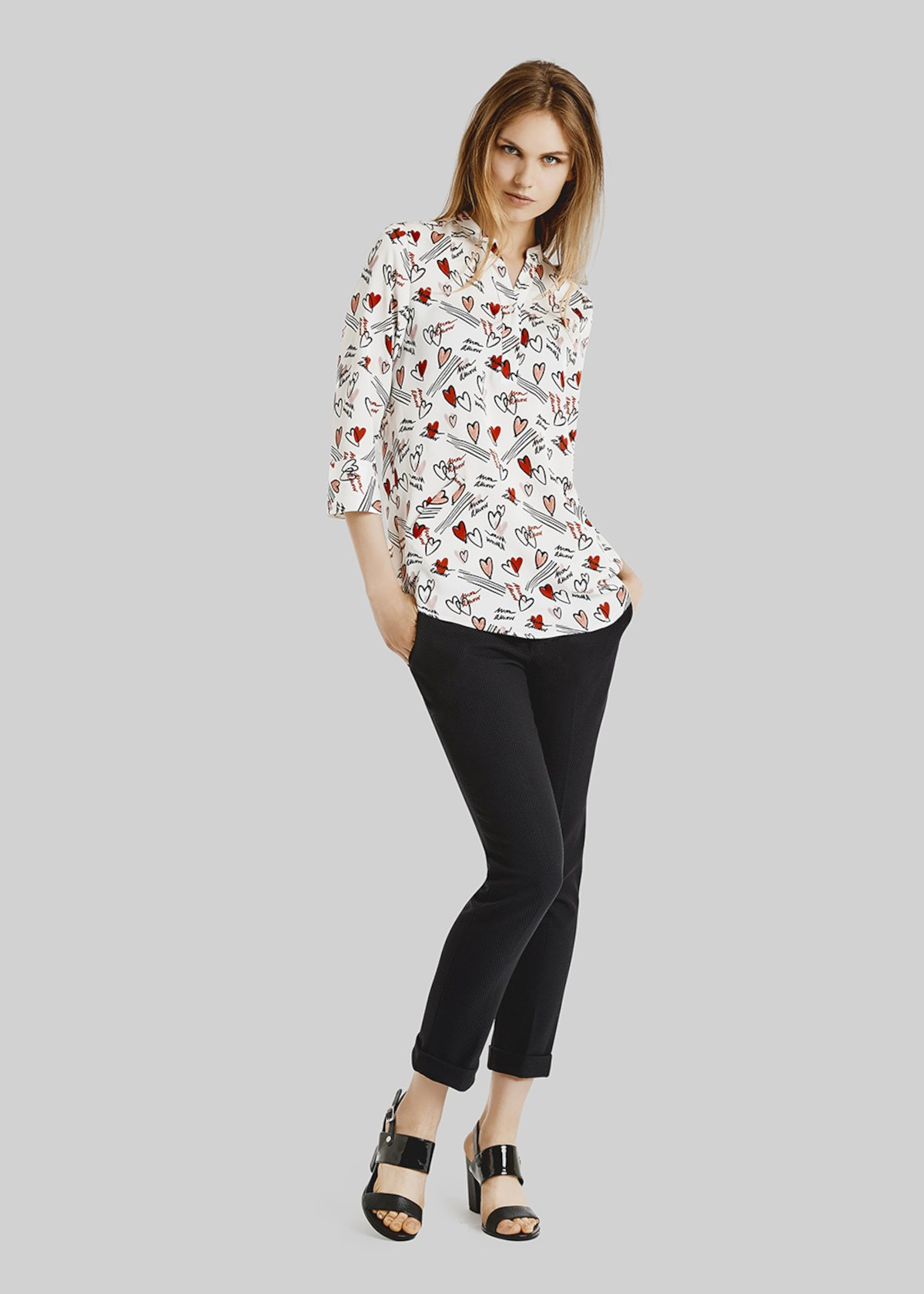 Camicia Calliope con manica a 3/4 - White / Black Fantasia - Donna - Immagine categoria