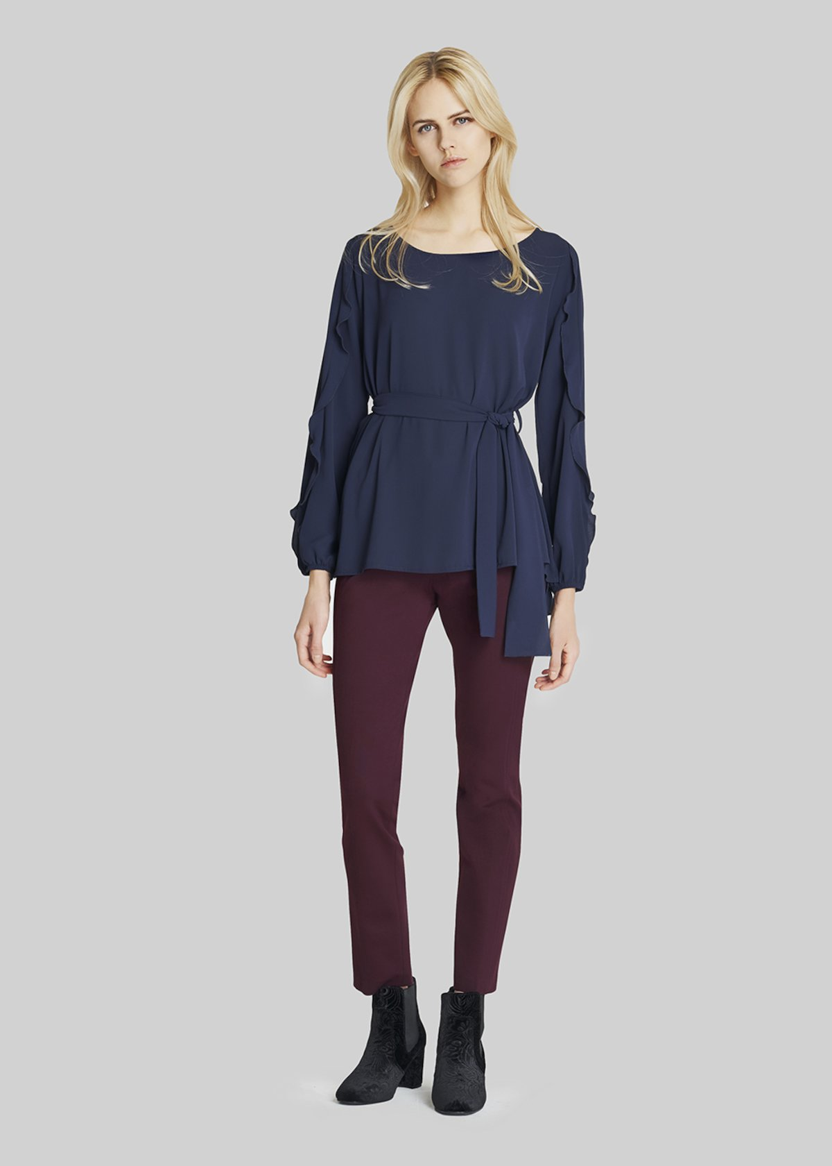 Selenia blouse click fabric - Medium Blue