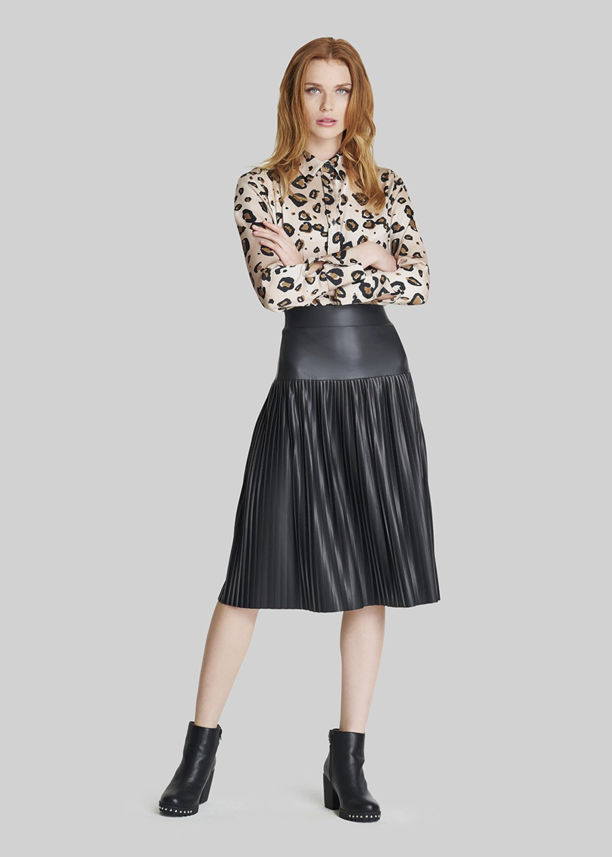 Gennyfer pleated faux leather skirt. - Black - Woman - Category image
