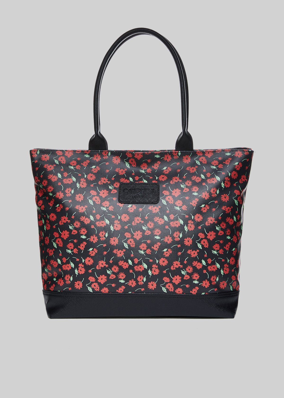 Trendbag2 shopping bag with floral pattern - Black Fantasia