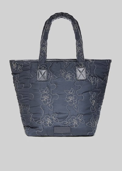 Blaky bag with embroidered flowers