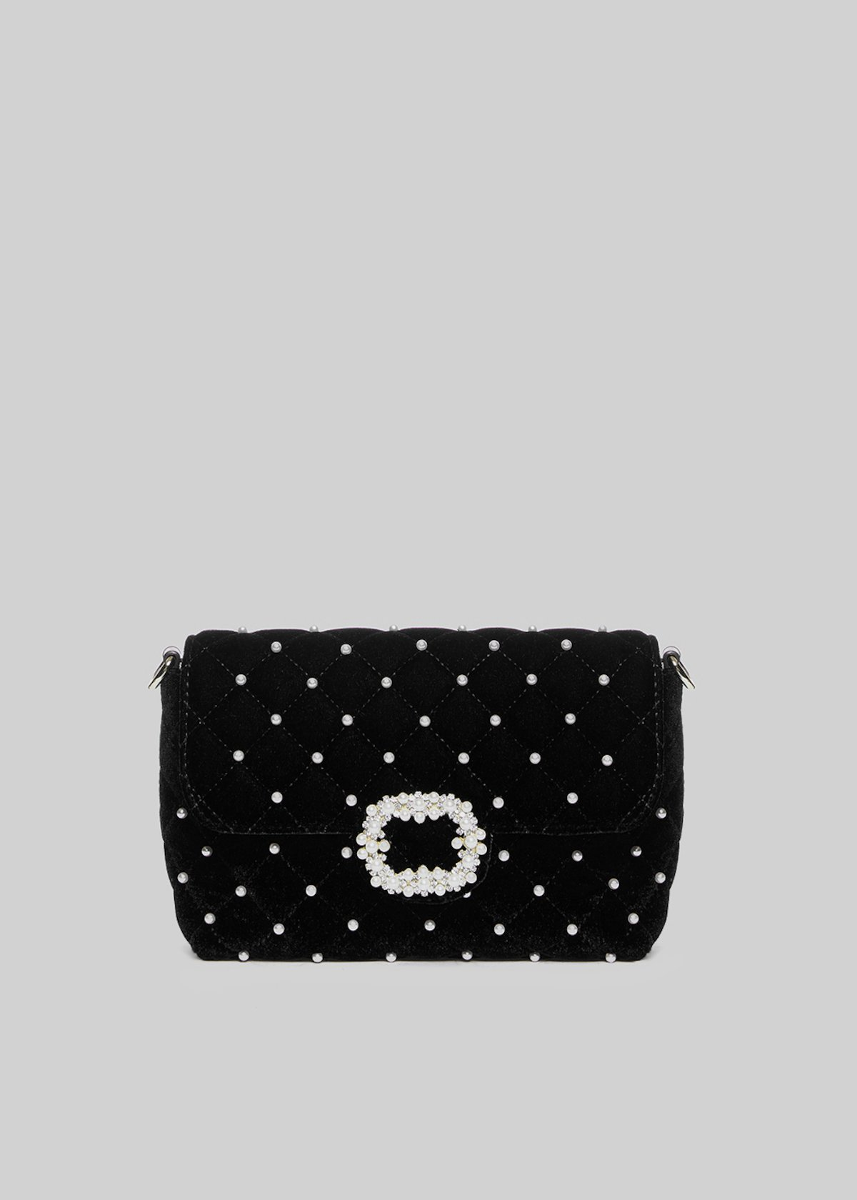 Blinny clutch bag with central buckle of pearls - Black