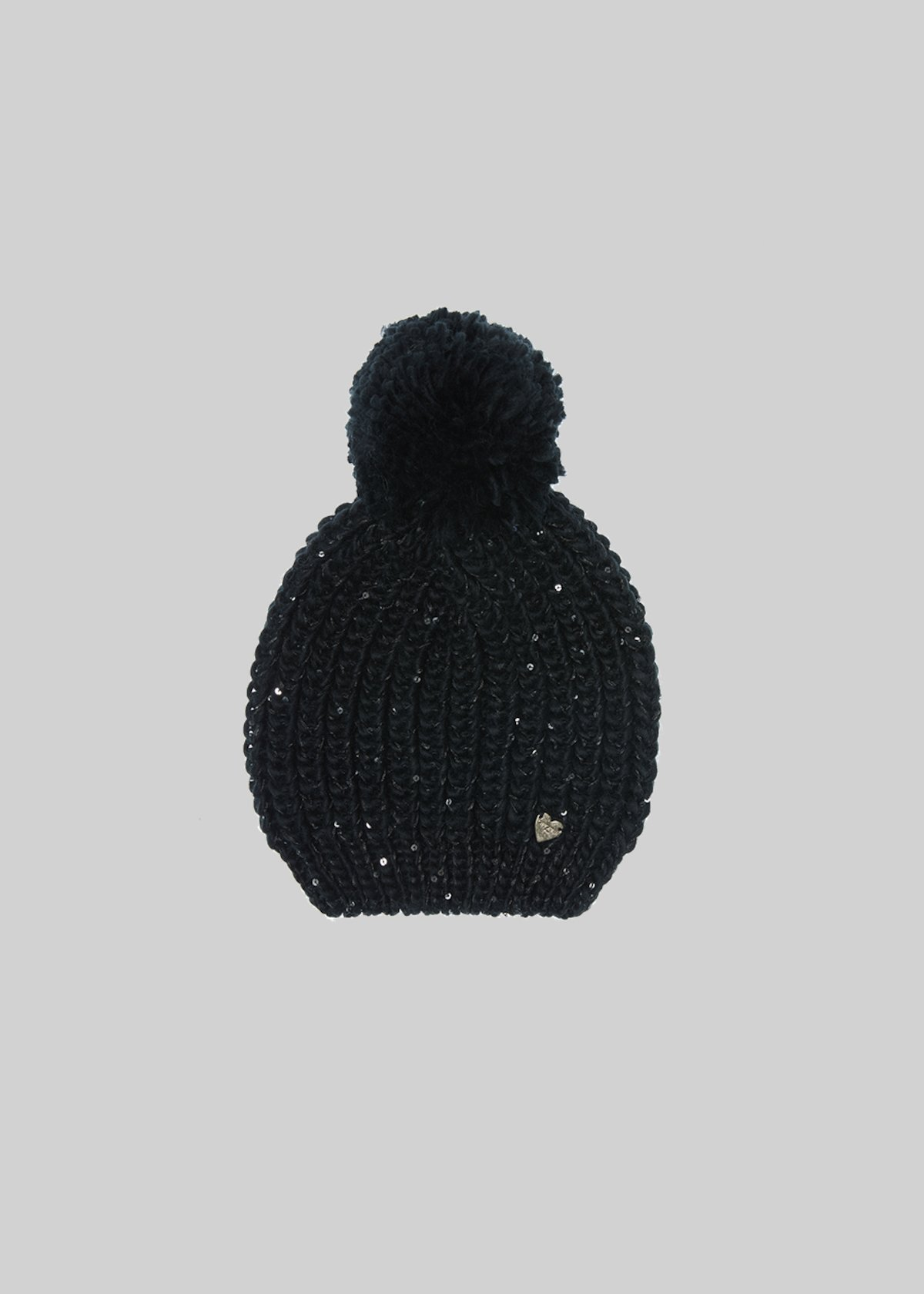 Knitted Carbel hat with sequin detail detail - Black