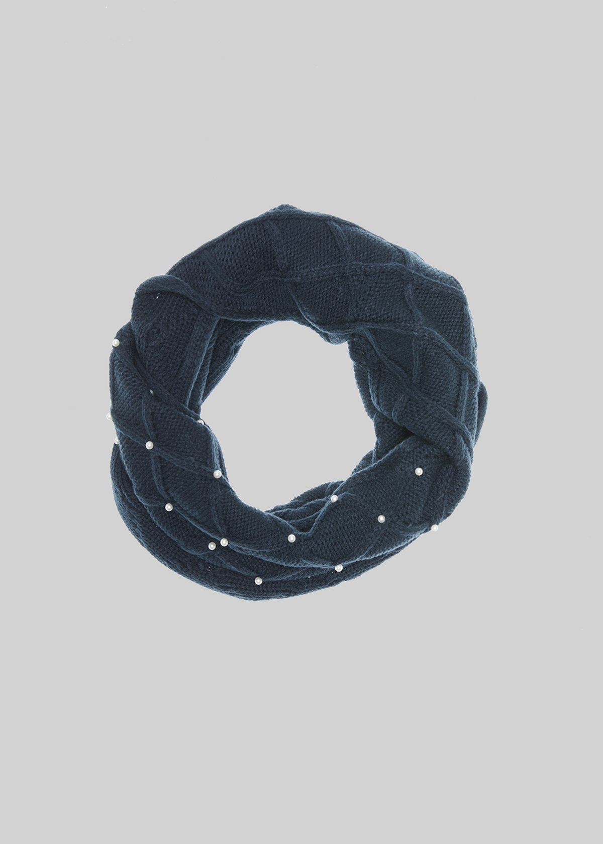 Sheba neck with rhombus and beads texture - Dark Blue