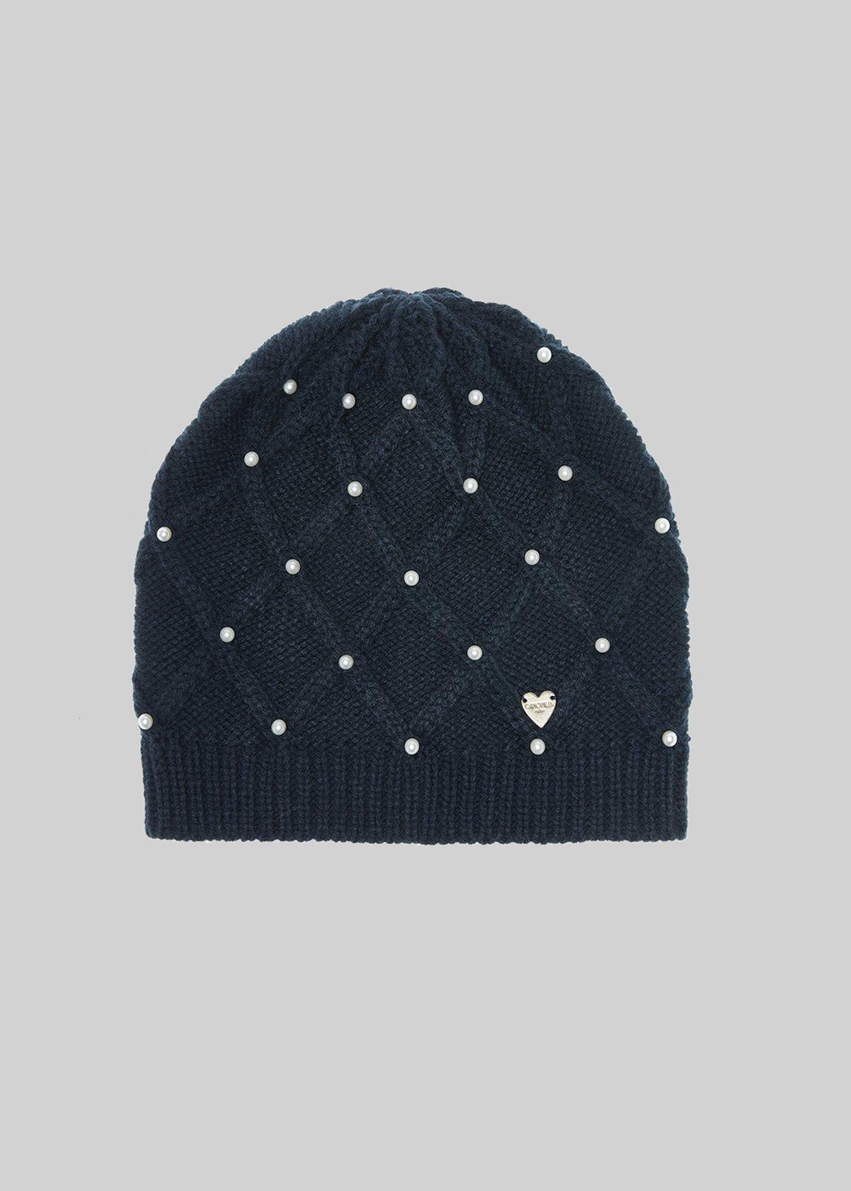 Cheba hat with diamonds and beads - Dark Blue