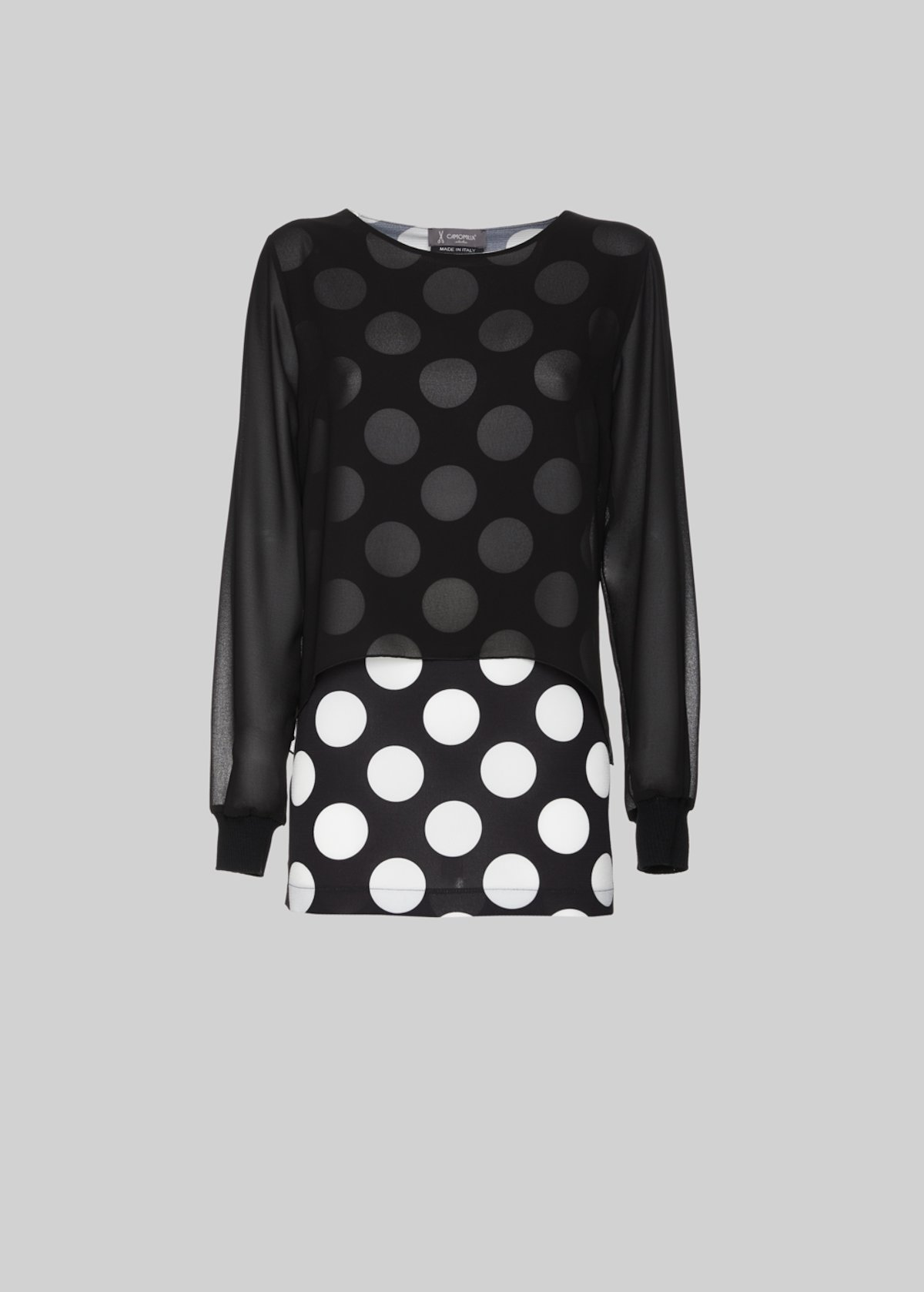 T-shirt Sissi in crepe, pannello sovrastante e maniche in georgette - Black / White Pois