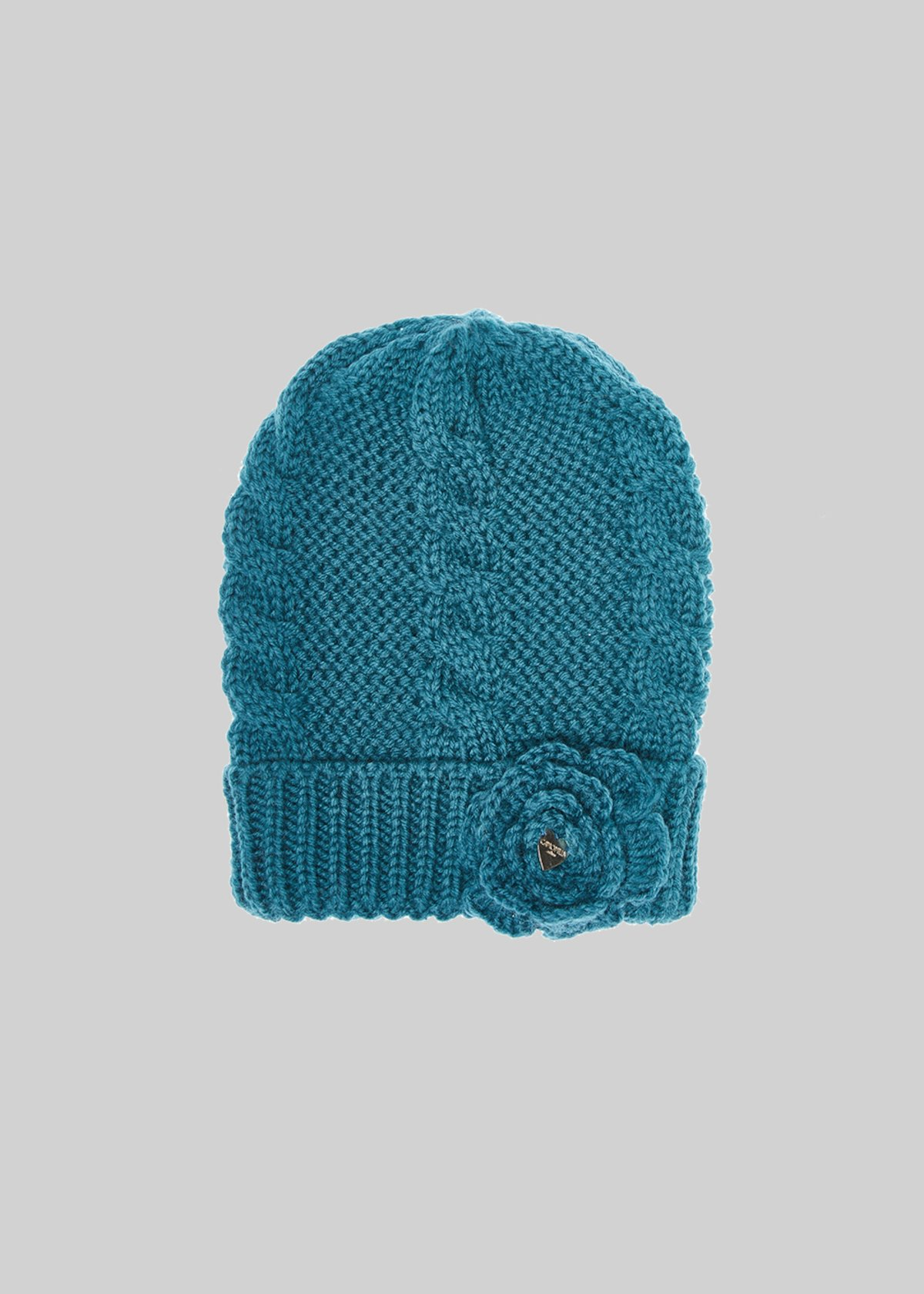 Knitted Cabys hat with flowers