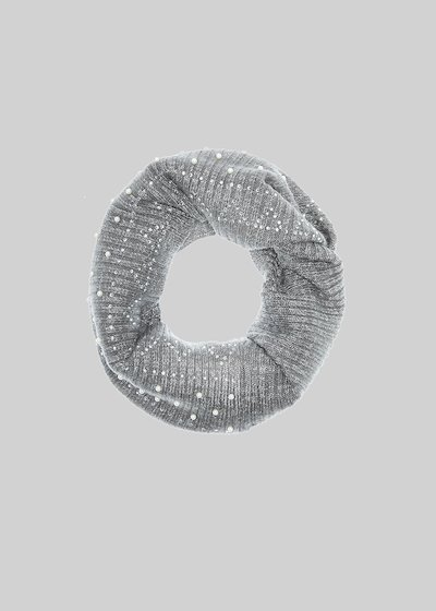 Collo Selim in maglia con applicazioni Crystal e perle