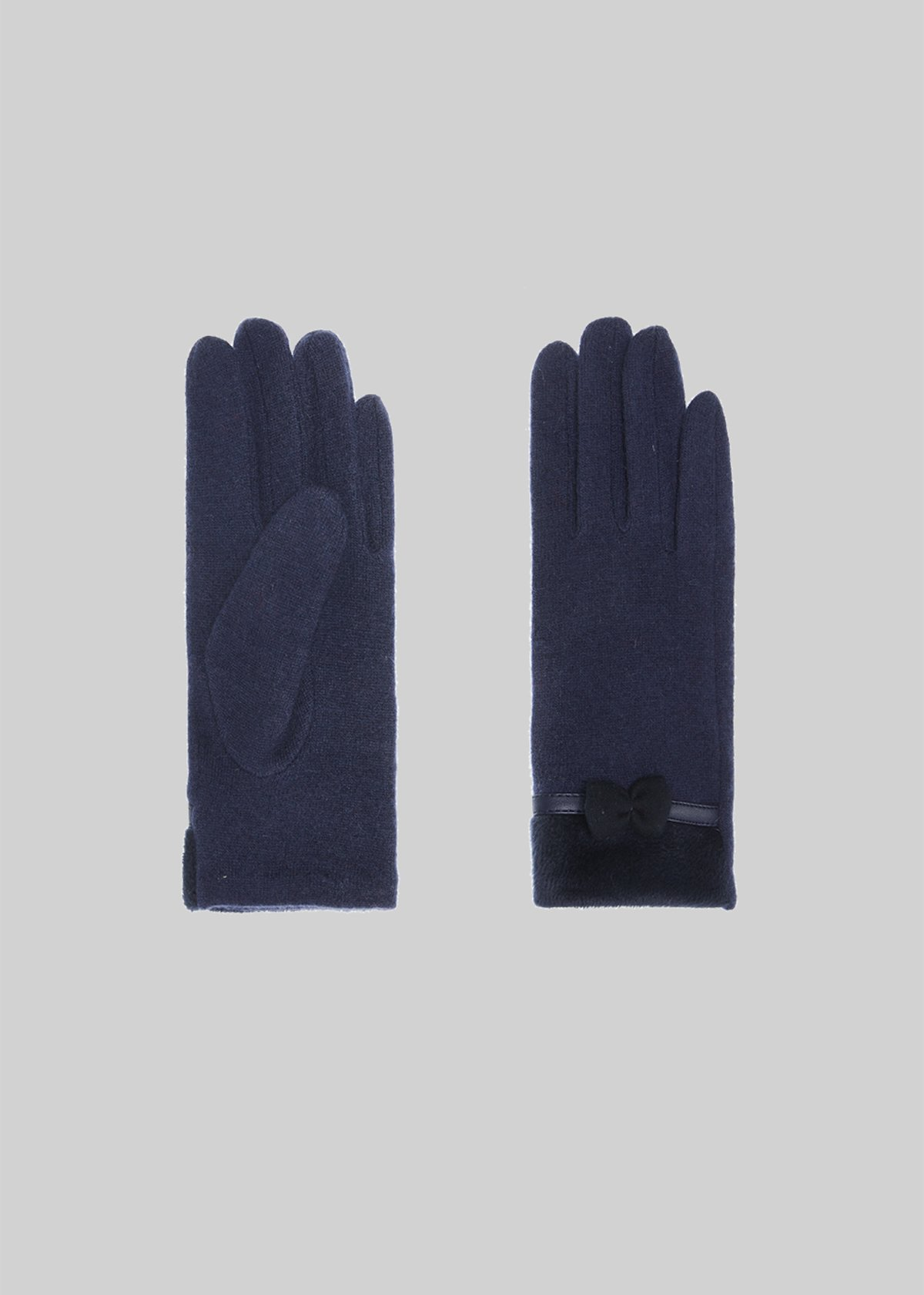 Glenda gloves in bimaterial wool with bow detail - Medium Blue
