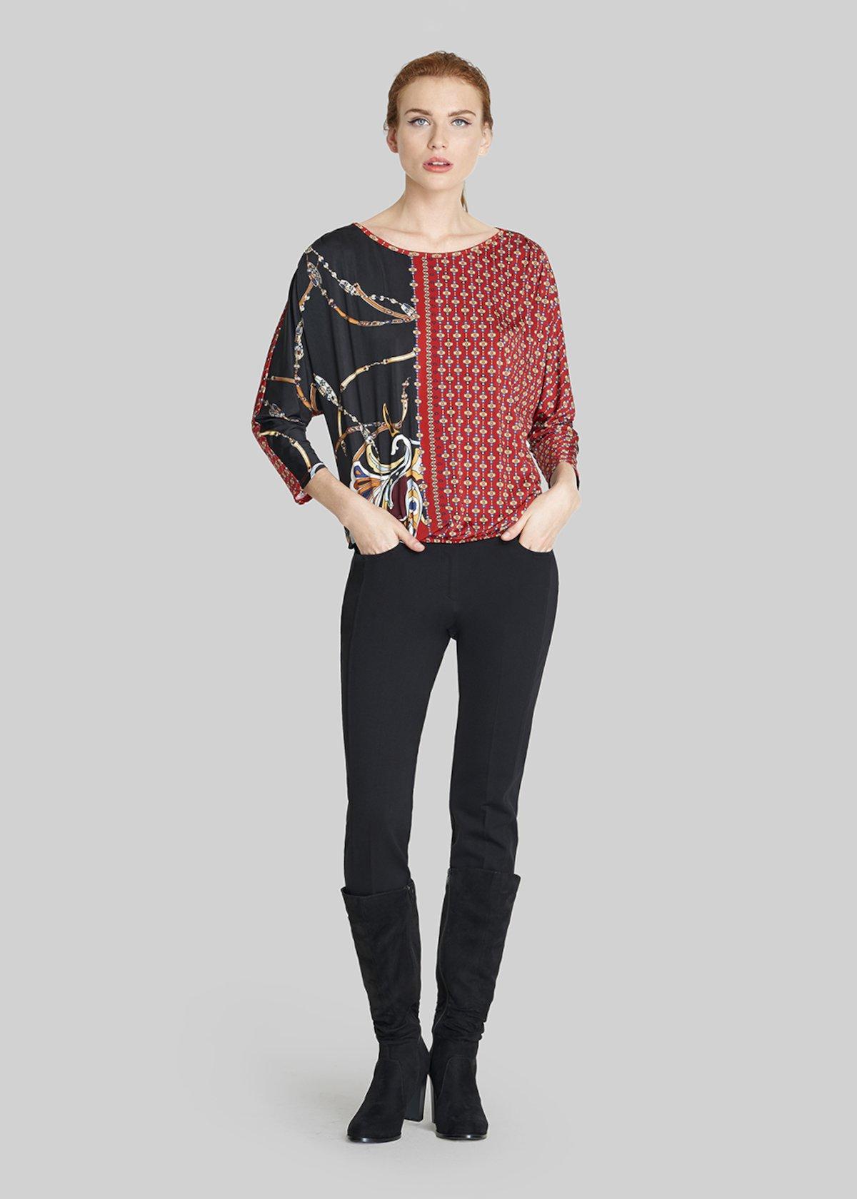 Semira shirt, egg model with 7/8 sleeve - Black / Chili / Fantasia - Woman - Category image