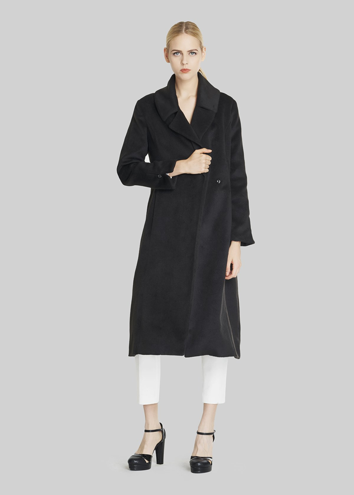Clint coat fur effect with belt - Black