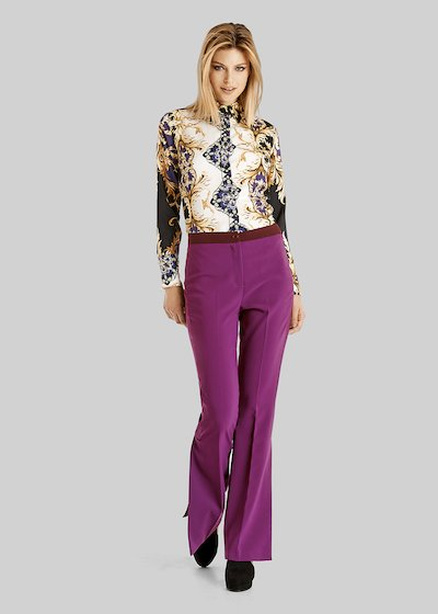 Cled shirt with violet baroque style pattern