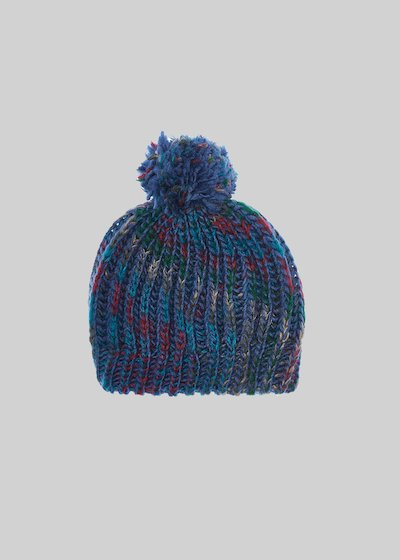 Cayd hat in multicoloured knitted fabric and pompom detail.