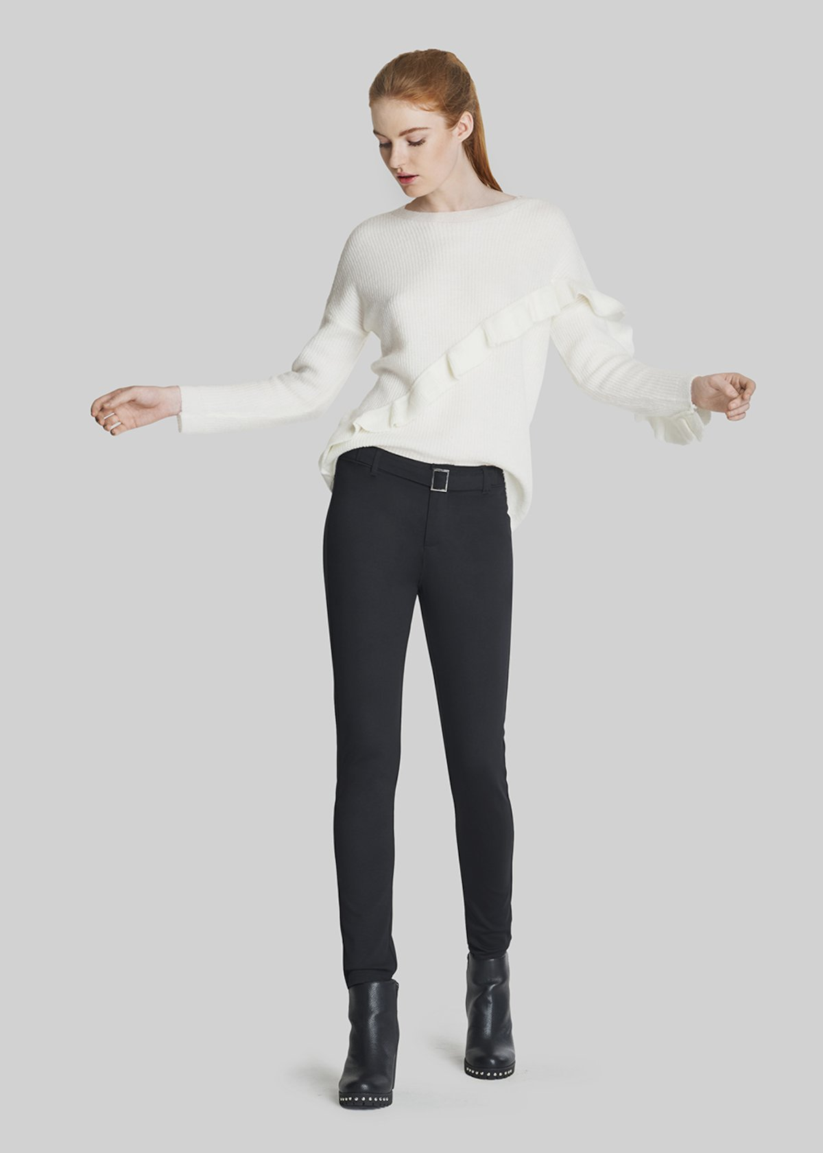 Philip trousers with waist belt - Black