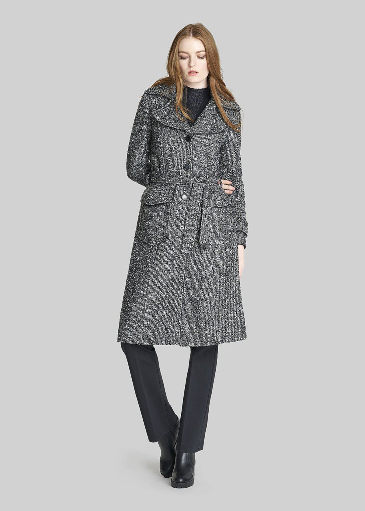 Boucle fabric Clyd coat with waist belt