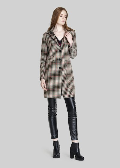 Claudius check coat with buttons.