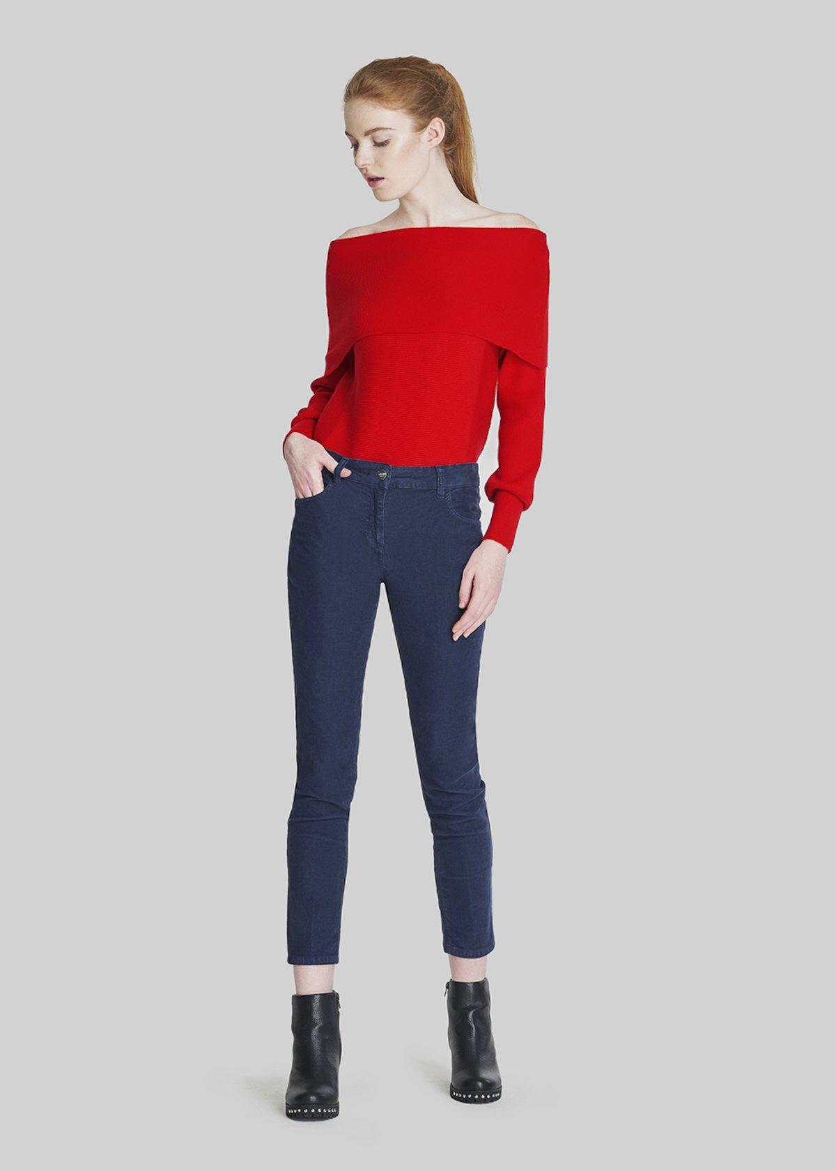 Velvet Pamel trousers Kate model. - Medium Blue