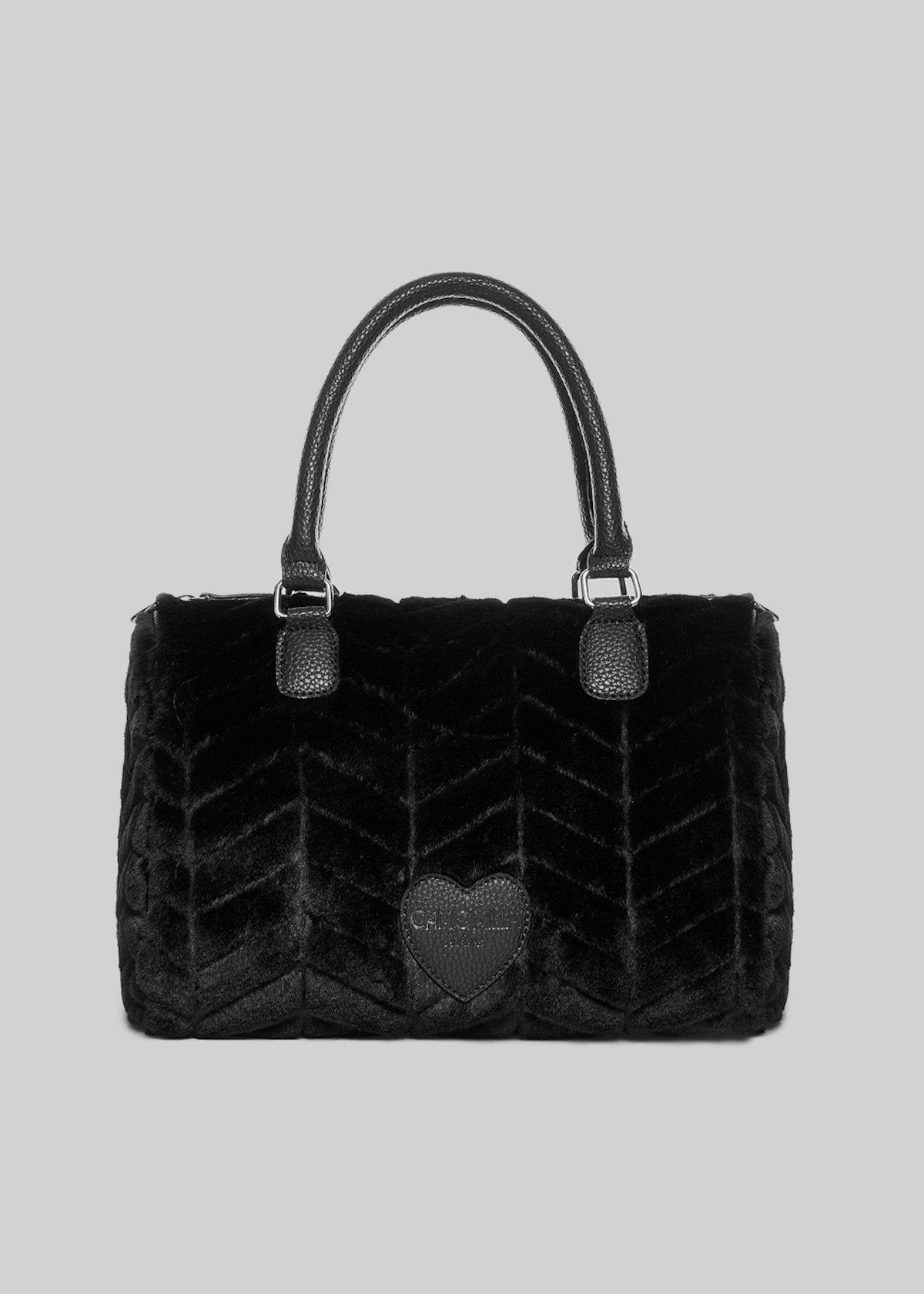 Batik bag in fake fur with zigzag pattern