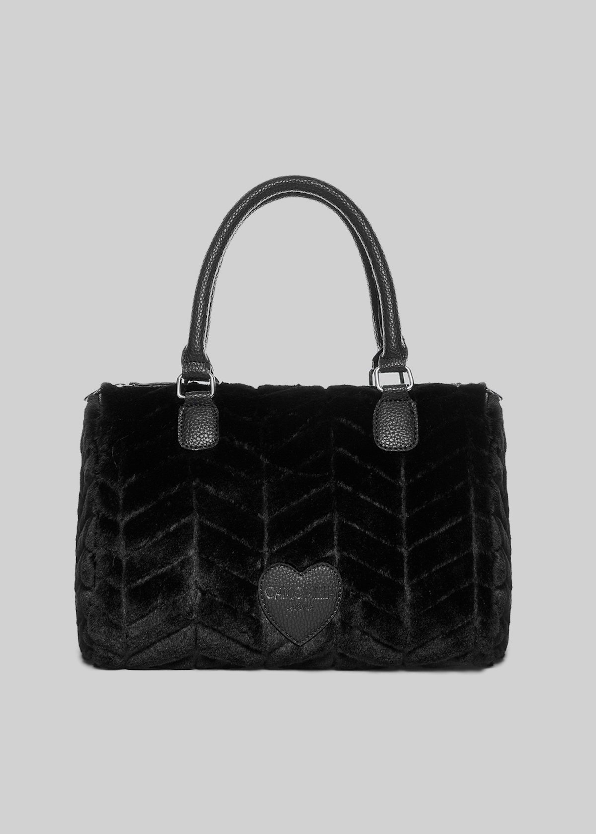 Batik bag in fake fur with zigzag pattern - Black - Woman - Category image