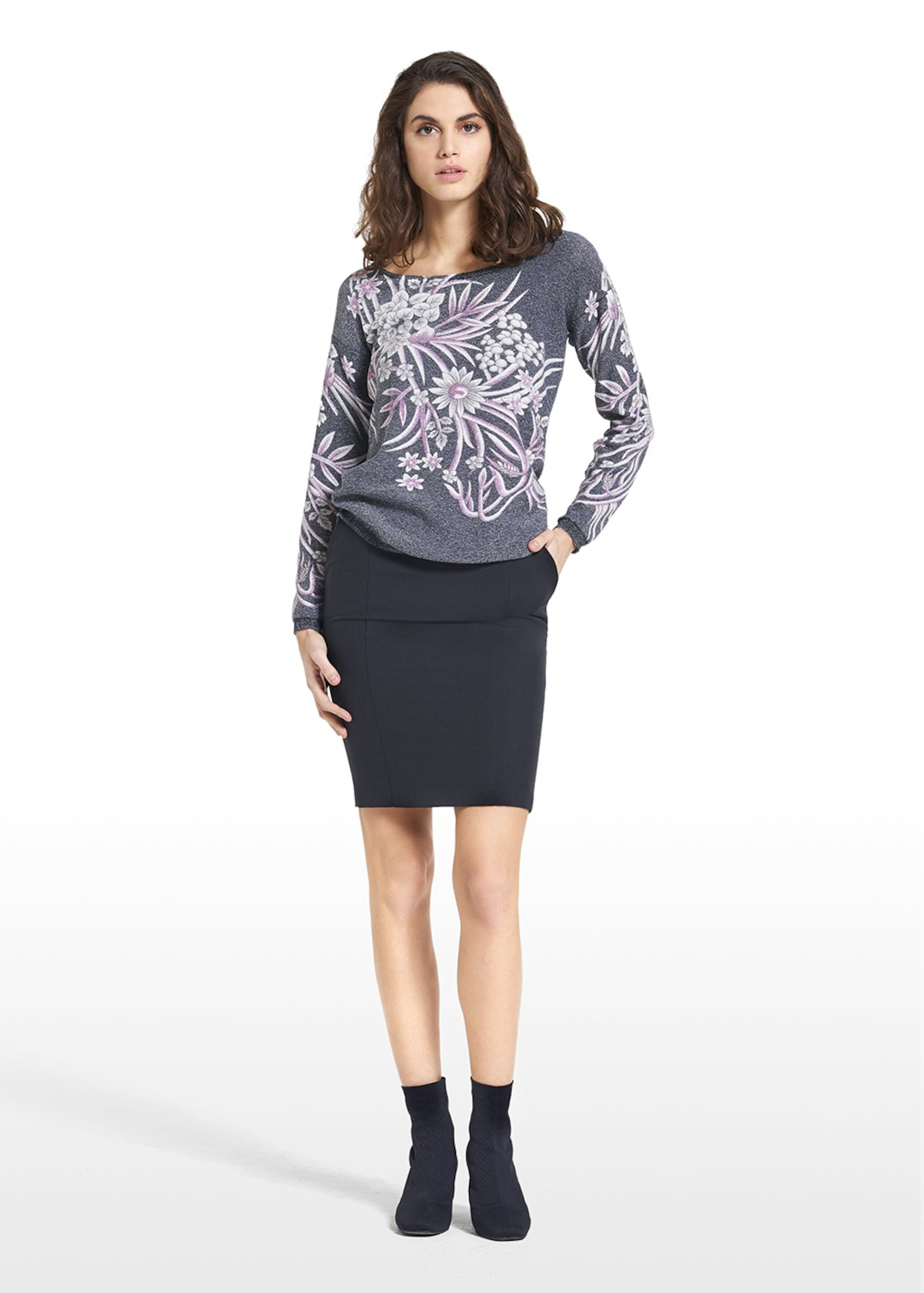 Sweater Mamy with Madonna neckline and floral pattern. - Blue Fantasia - Woman