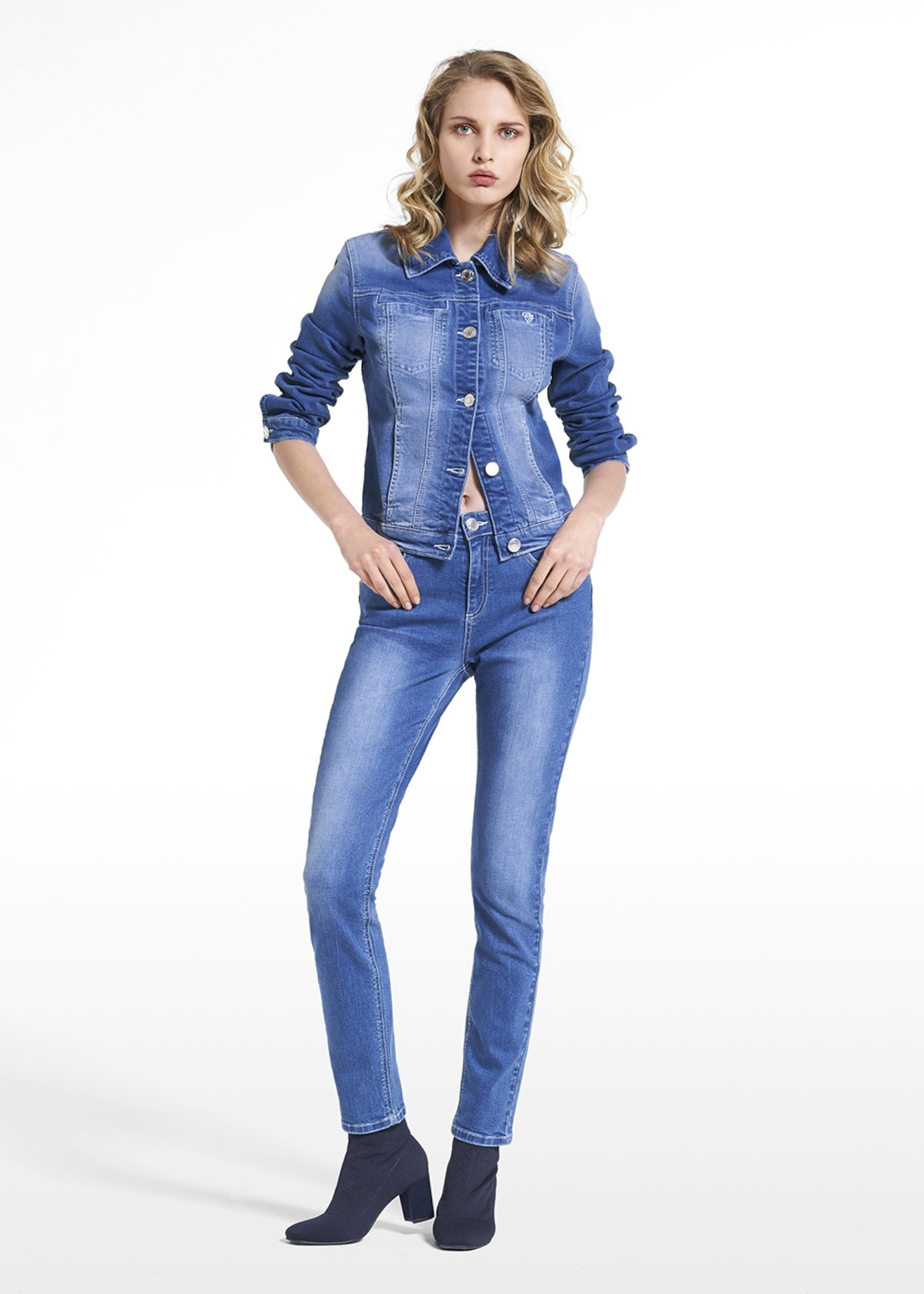 Jacket Gary in denim with jewel button - Denim - Woman