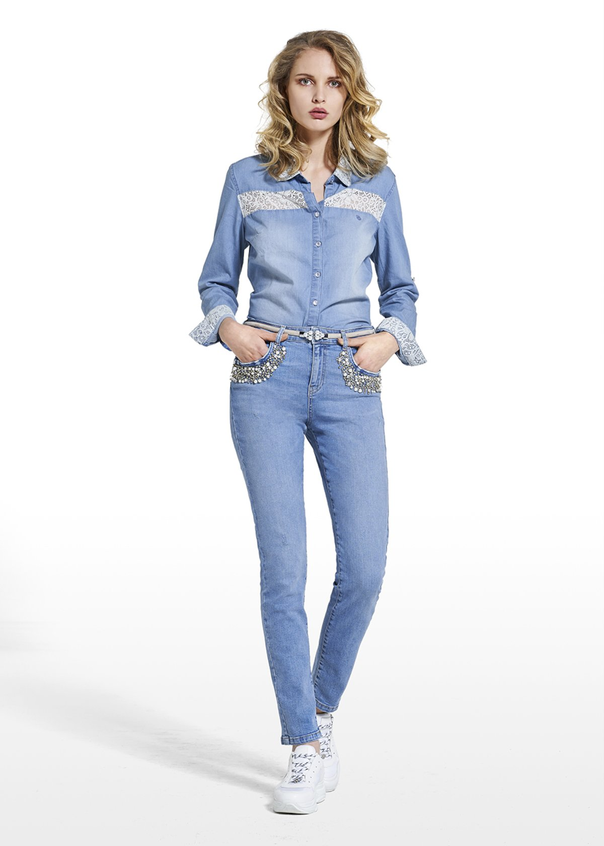 Jeans Dexter 5-pocket with beaded detail and crystal rhinestones - Blue - Woman - Category image