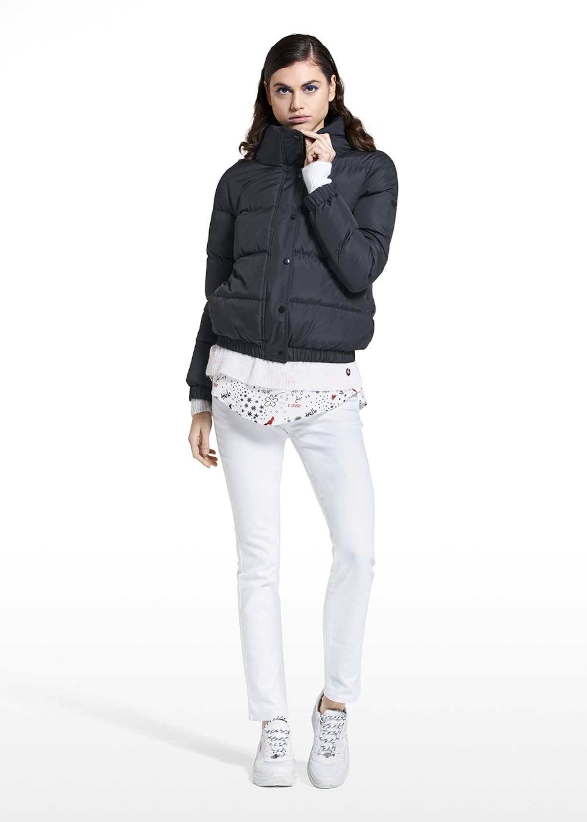 Down jacket Paliky with high collar - Black - Woman