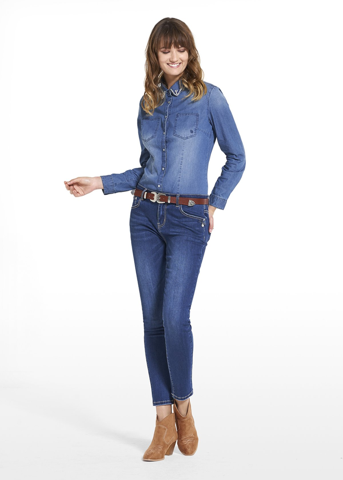 Blouse Chelly in denim with crystal detail and light blue rhinestones - Blue - Woman