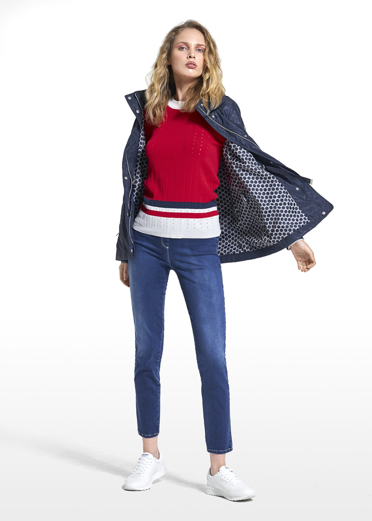 Jacket Garis in mixed polyester with hood - Medium Blue - Woman - Category image