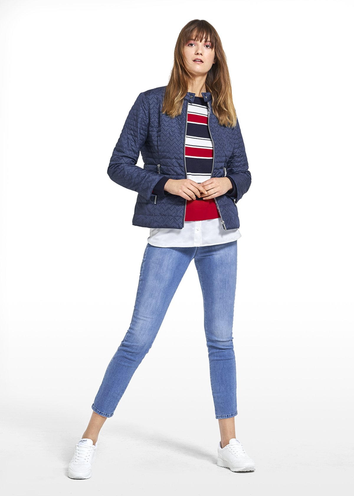 Jacket Garcia in lasered polyester with band neckline - Medium Blue - Woman