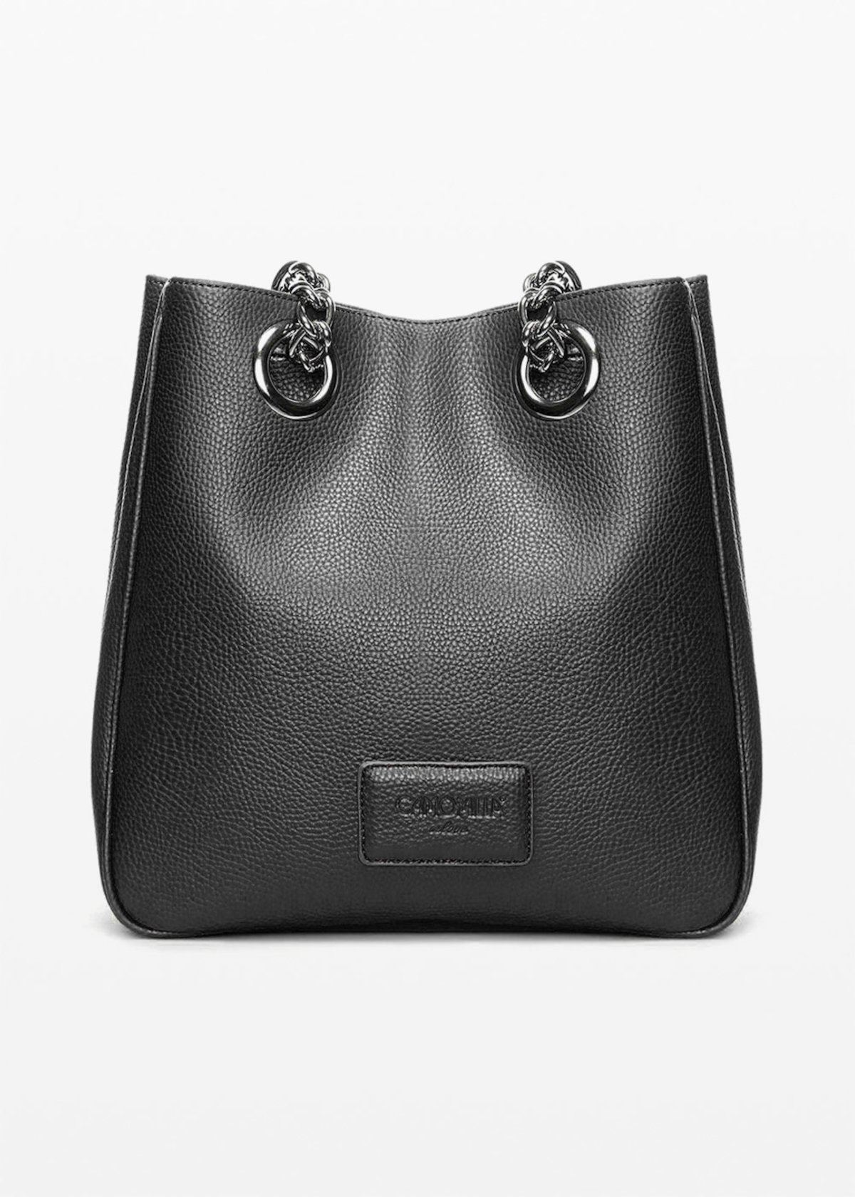 Shopping bag Brend in ecopelle stampa cervo con manici a catena - Black - Donna