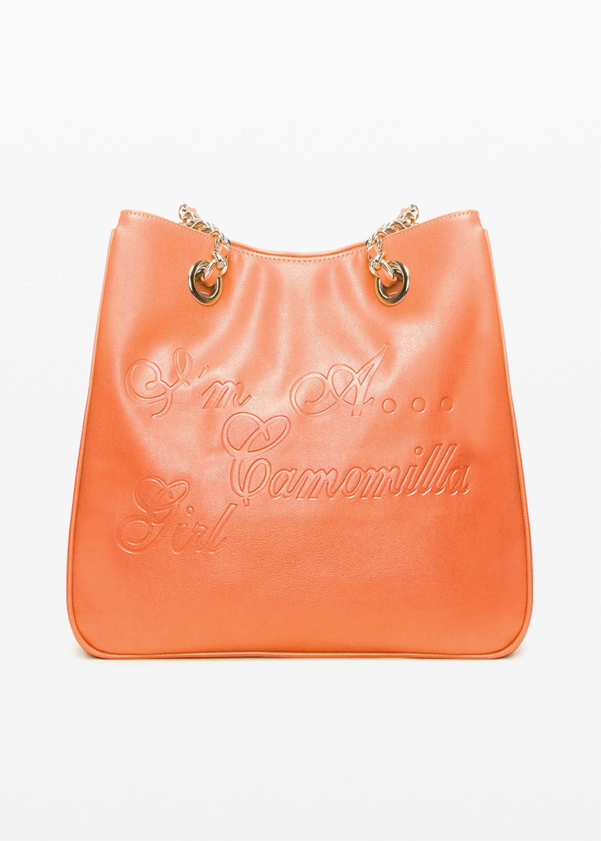 Minicamog faux leather shopping bag with embossed logo - Mandarino - Woman