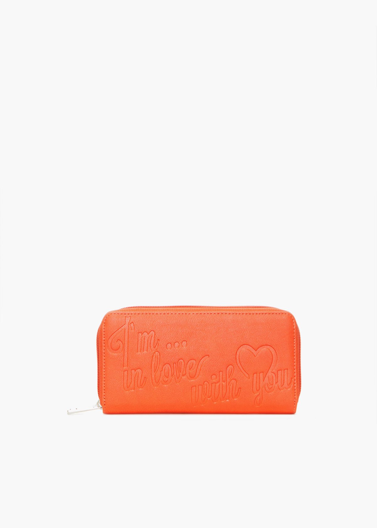 Pennie6 faux leather wallet with lettering print - Mandarin - Woman