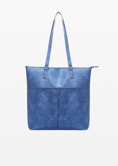 Shopping bag Baly6 in ecopelle sfaderata con tasconi sul davanti