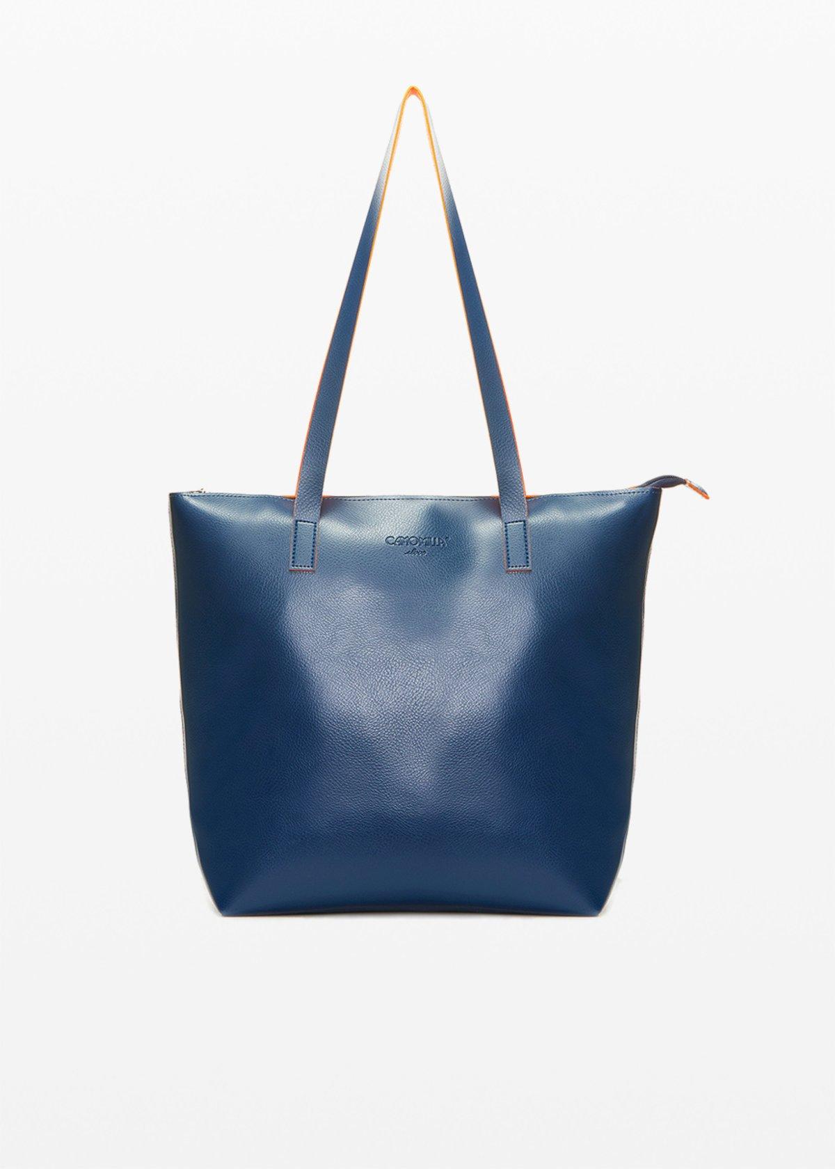 Faux leather Bilia6 shopping bag unlined double colour - Medium Blue / Mandarino - Woman
