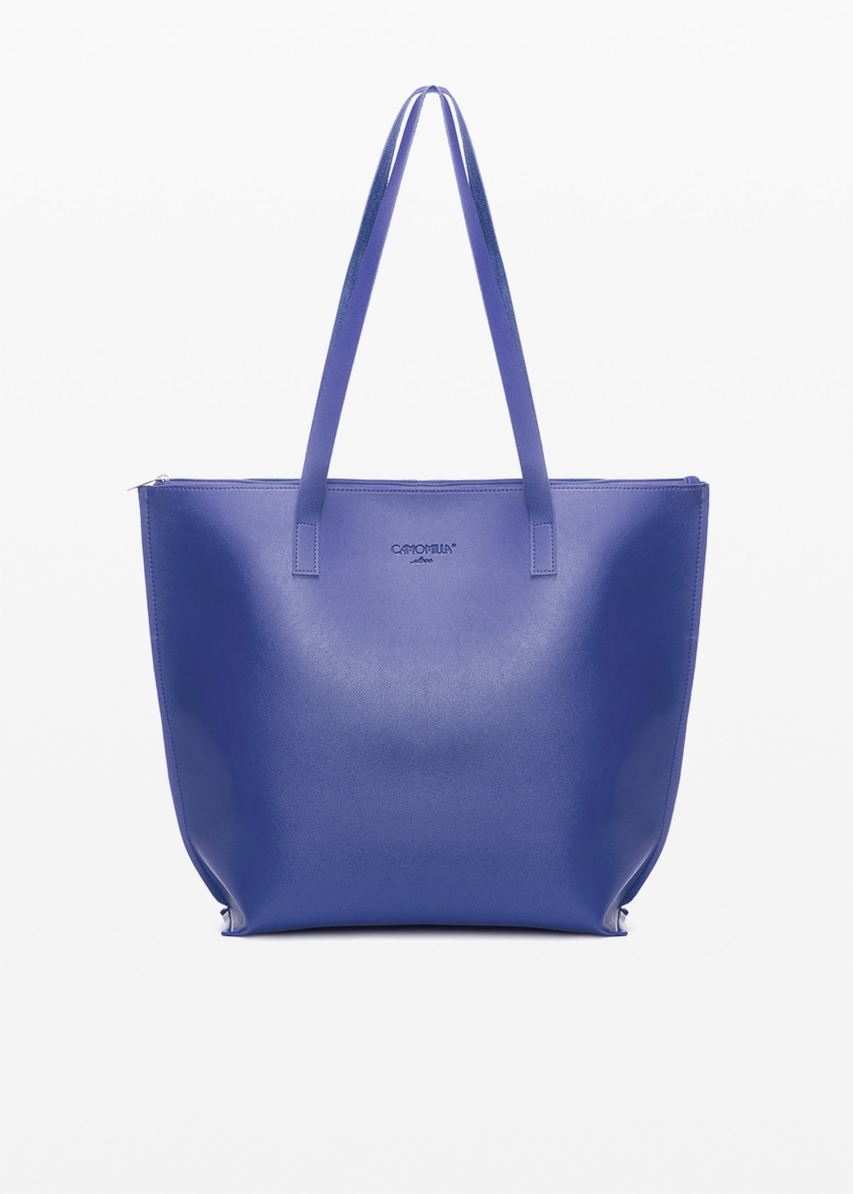 Faux leather Bady6 shopping bag unlined with double handles - Blue / Mineral - Woman