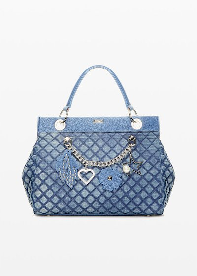 Denim quilted and pudded bag Bead con dettaglio catena e ciondoli