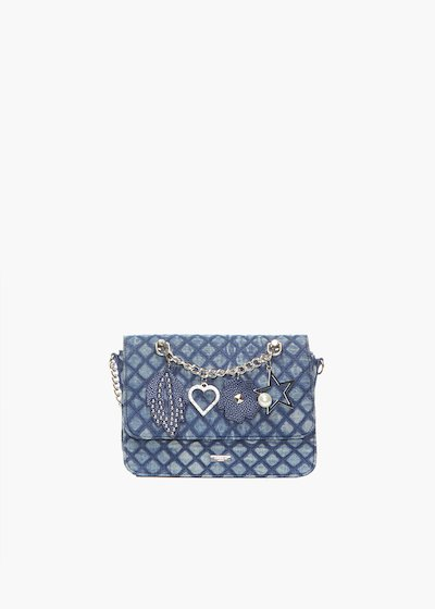 Denim quilted and padded clutch with metal chain & pendants detail