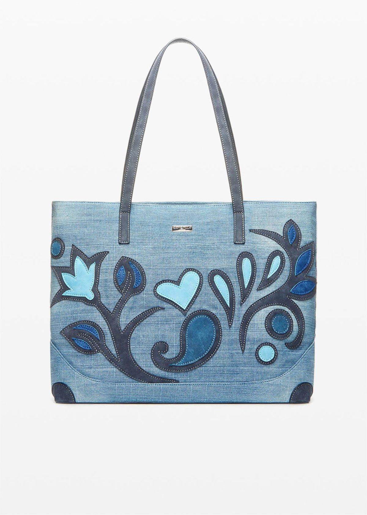 Blecky Shopping Bag denim effect with flower decoration - Blue - Woman