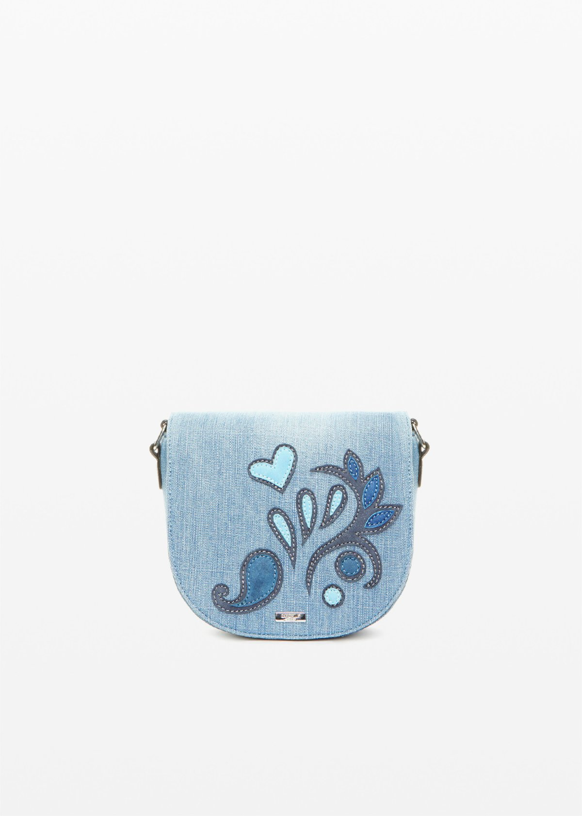 Blerry Crossbody bag denim effect with flower patch - Blue - Woman