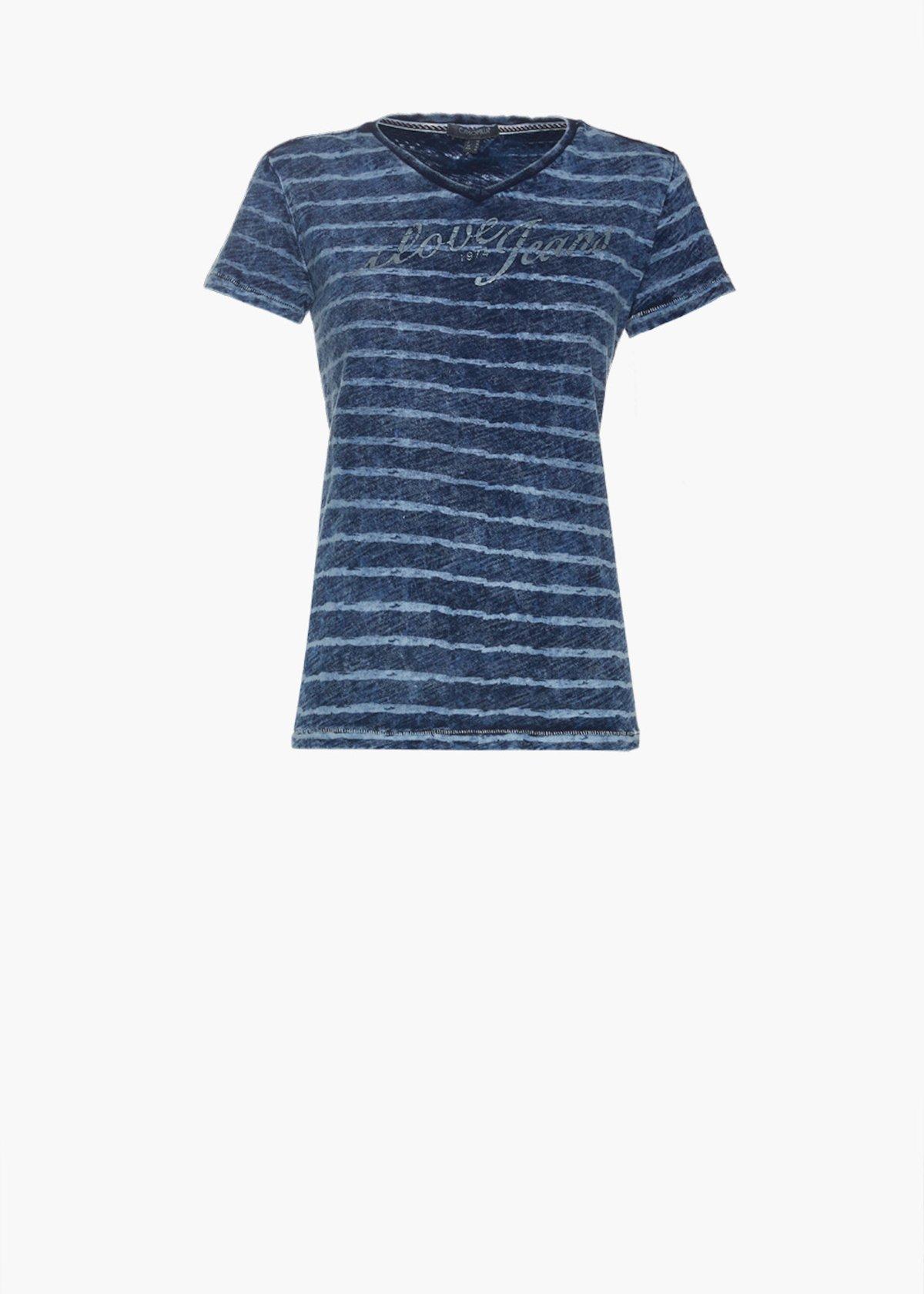 Sallyn t-shirt with striped print - Blue / White Stripes - Woman