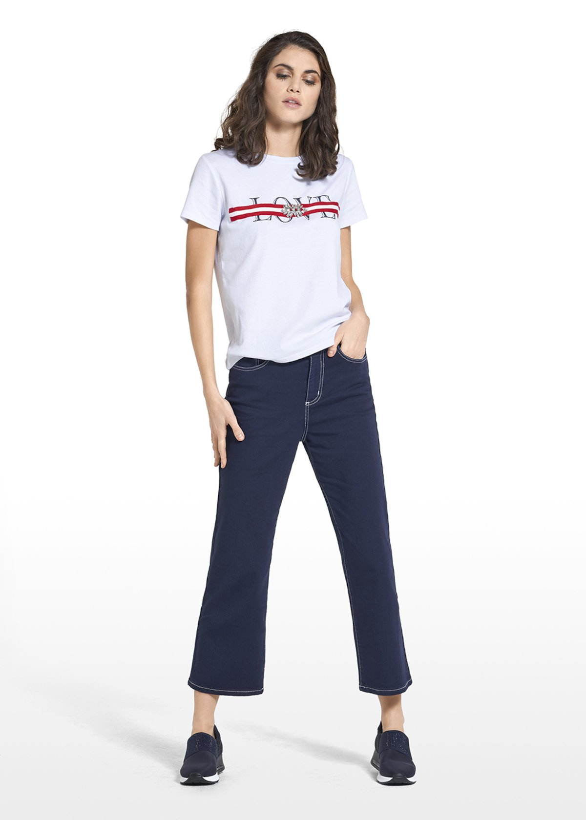 Sweater Sandy in jersey with print and embroidery on the front - White / Tulipano Fantasia - Woman