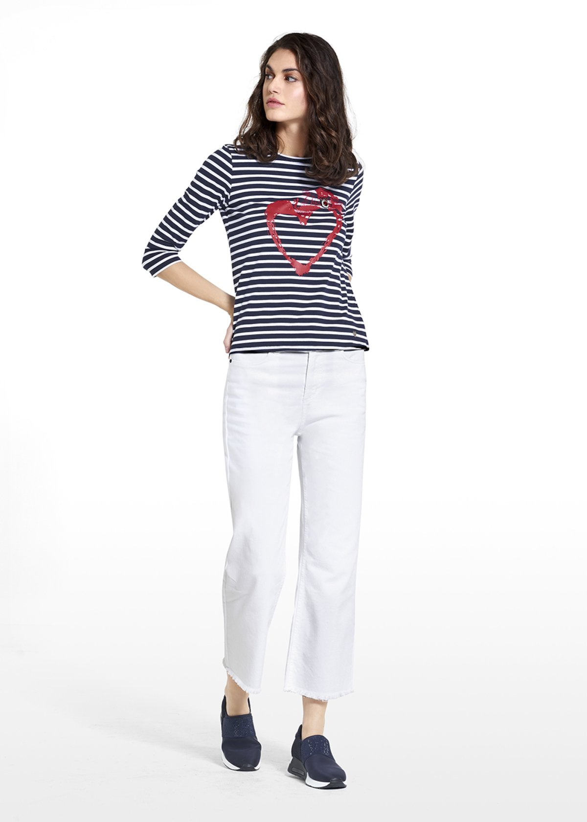 Sweater Sary in jersey stripes style with heart - Blue / White Stripes - Woman
