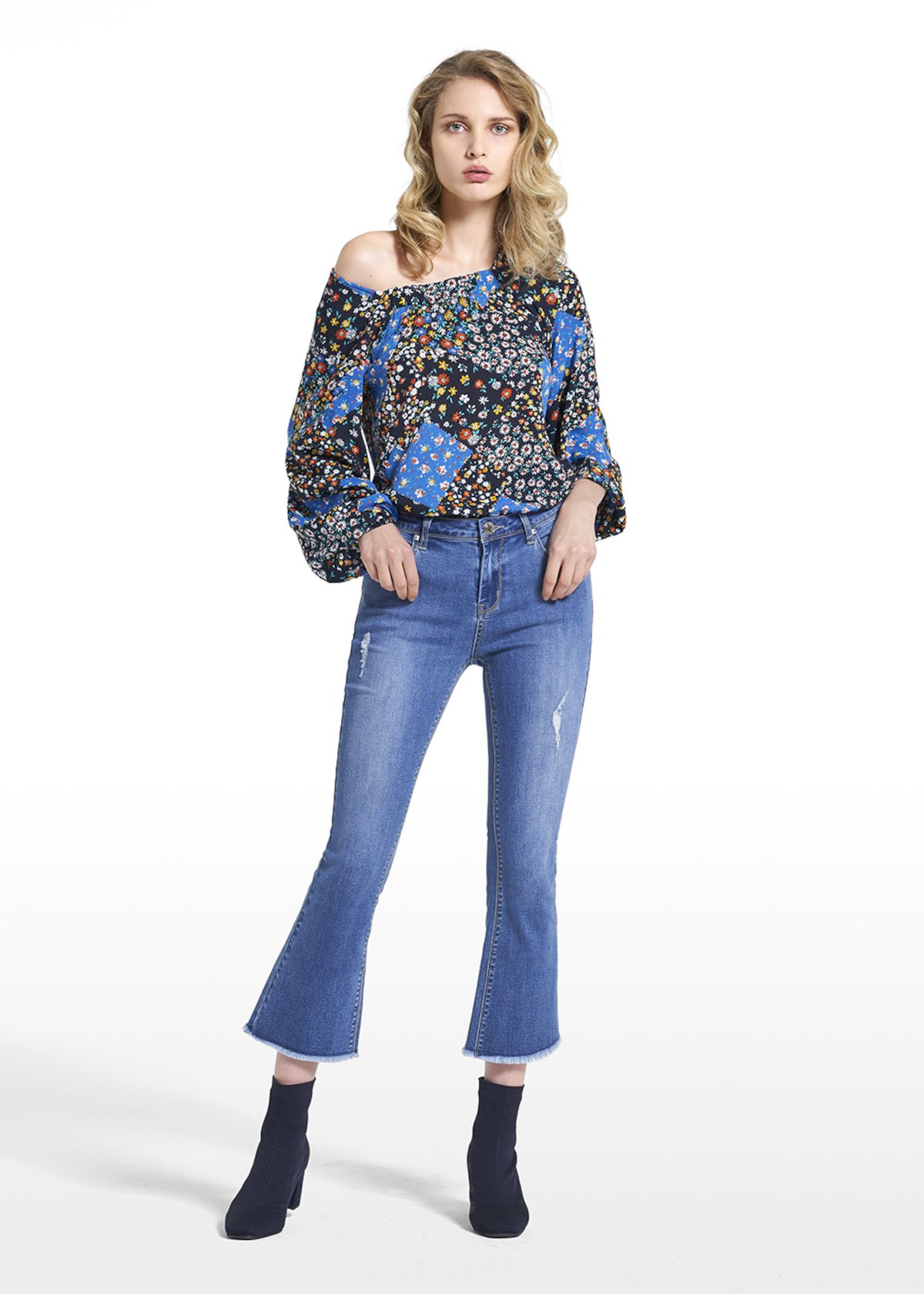 5-pocket flared pants Pandy - Blue - Woman - Category image