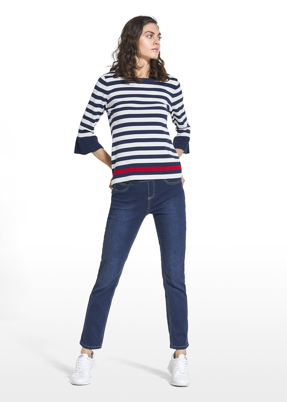 Maglia Marilyn stampa a righe con dettaglio rouches - White / Blue Stripes - Donna - Immagine categoria
