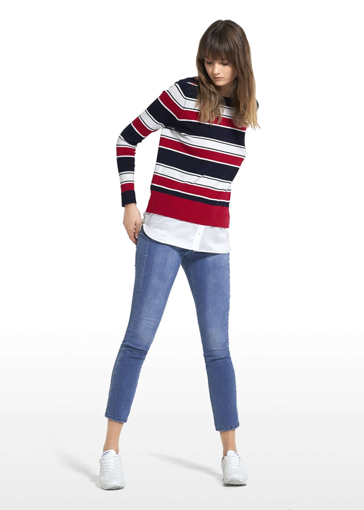 Maddy jersey with tricolor stripes pattern - White / Blue Stripes - Woman