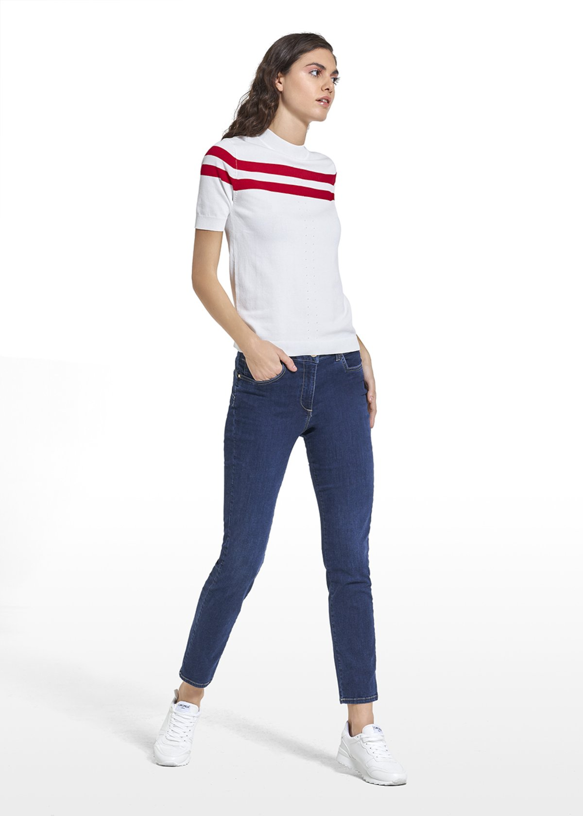 Molly jersey with double row on the front - White\ Tulipano - Woman - Category image